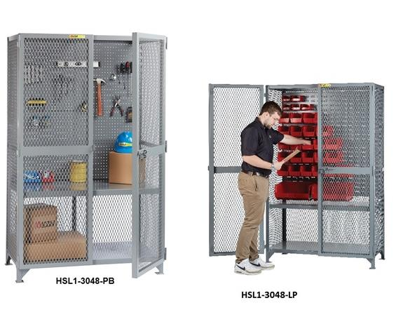 ALL-WELDED TOOL STORAGE LOCKER WITH PEGBOARD OR LOUVERED PANELS