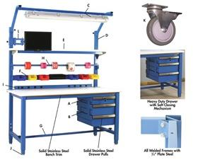 5,000 LB. CAPACITY KENNEDY SERIES WORKBENCHES - WITH HEAVY LISSTAT™ ESD TOP