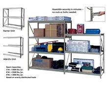 HEAVY-DUTY Z-BEAM STORAGE RACK  - ADDITIONAL SHELF LEVELS, OPTIONAL SHELVES & DECKS